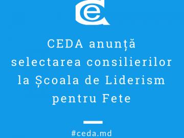 CEDA anunţă selectarea consilierilor la Școala de vară, 01 – 08 iulie 2019