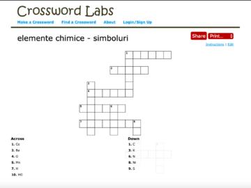 Clasa VII. Chimie. Cross word – Elemente chimice