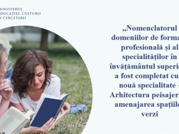 """""""Nomenclatorul domeniilor de formare profesională și al specialităților în învățământul superior"""" a fost completat cu o nouă specialitate"""
