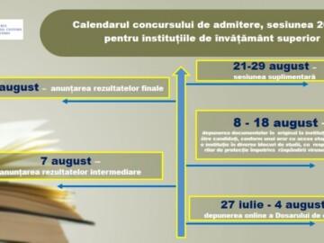 Ministerul Educației, Culturii și Cercetării a stabilit termene comune de organizare şi desfășurare a sesiunii de bază a concursului de admitere, sesiunea 2020, pentru instituțiile de învățământ superior