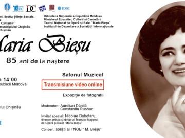 """SALON MUZICAL """"MARIA BIEȘU – 85 ANI DE LA NAȘTERE"""", Eveniment online"""