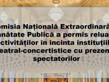 Cu privire la Reluarea activității instituțiilor teatral-concertistice și a caselor de cultură