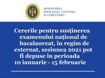 Cei ce doresc să susţină examenul național de bacalaureat, în regim de externat, pot depune, începând cu 10 ianuarie