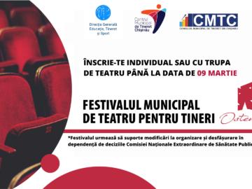 """Participă la Festivalul Municipal de Teatru pentru Tineret ,,OSTENDE"""" ediția a V-a"""