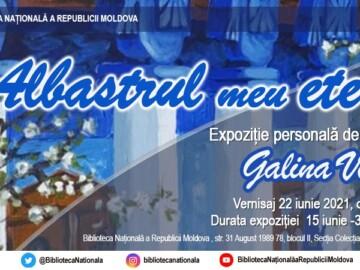 """La BNRM va fi vernisată expoziția de pictură a Galinei Vieru """"Albastrul meu etern"""""""
