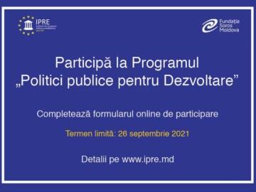 Concurs de selectare a 20 de participanți în cadrul programului politici publice pentru dezvoltare realizat de IPRE
