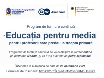 """Program de formare continuă """"Educația pentru media""""."""