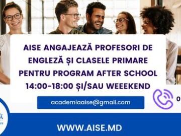 AISE angajează profesori de engleză, profesori clasele primare și manager de oficiu pentru Programul Afterschool